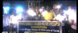 Private Schools & Children Welfare Association Protesting against murder of DPS Nalanda Director DP Sinha