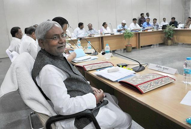CM Nitish Kumar with his cabinet .