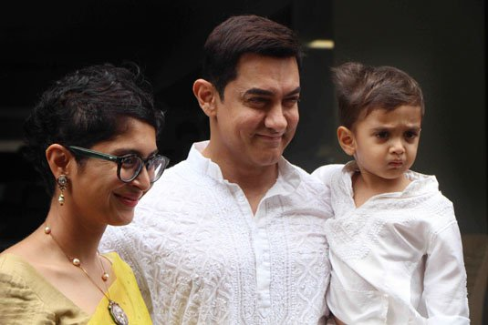 Aamir Khan with Kiran Rao & Son