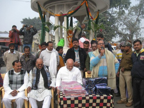 Dr.Madhepuri along with Cabinet Minister and School Children and other people celebrating Bhupendra Narayan Mandal Jayanti at Bhupendra Chauk, Madhepura .