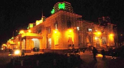 Bihar Vidhan Sabha decorated with lights on Bihar Diwas.