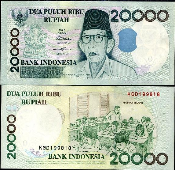 Indonesian Currency bearing picture of Kalashastri Ganesh Bhagwan on one side and the class of kids running smoothly on the other side.