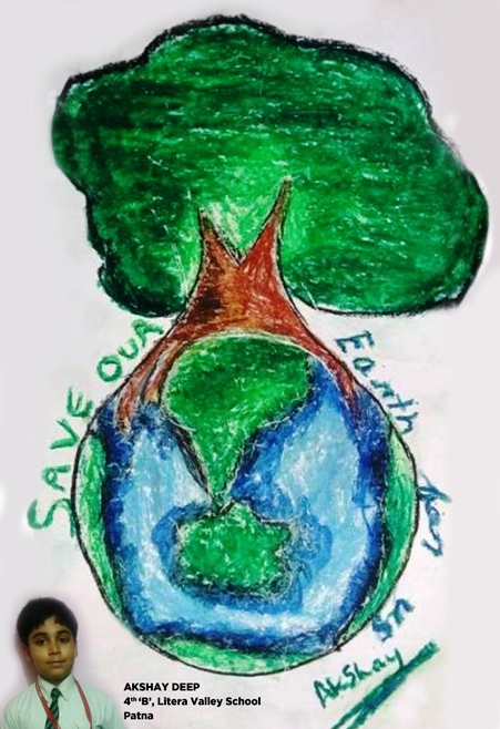 A Drawing on Earth Day By Akshay Deep, Student of class 4th'B', Litera Valley School, Patna