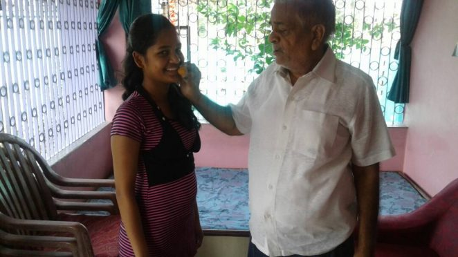Khushi Pransukhka CBSE 10th Board Exam 2017 topper from Haryana State with her Grand Father Shri Yogendra Prashad Pransukhka , President of Madhepura Zila Vyapar Sangh , at Madhepura residence .