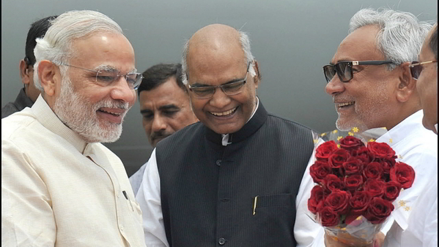 PM Narendra Modi and CM Nitish Kumar greeting the newly elected President of India Ram Nath Kovind .