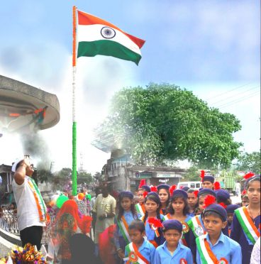 Educationist Dr.Bhupendra Narayan Yadav Madhepuri hoisting Indian National Flag on 71st Independence Day at Bhupendra Chowk , Madhepura .