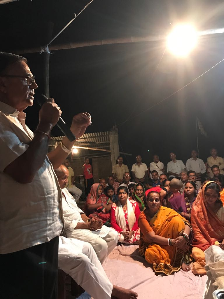 Samajsevi Dr.Bhupendra Madhepuri addressing the devotees attending the 11th Punya Tithi Samaroh of Dadi Prakashmani at Madhepura .