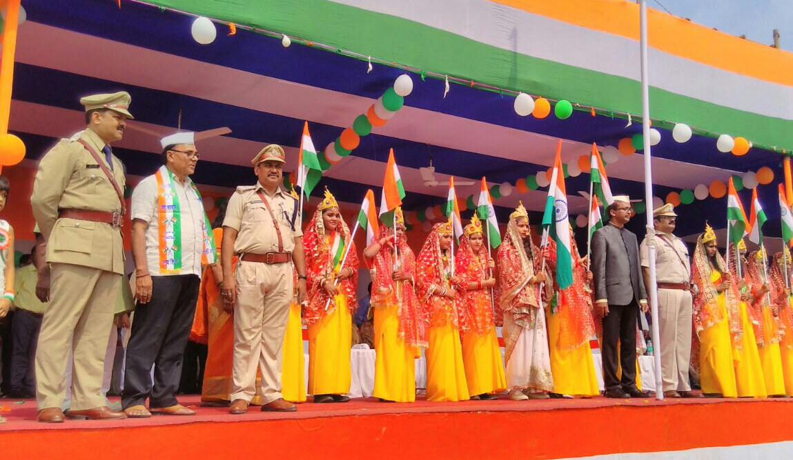 Dynamic DM Md.Sohail (IAS), SP Vikas Kumar (IPS), ASP Rajesh Kumar , Samajsevi Dr.Bhupendra Madhepuri and other officers along with girl students uniformed as Bharat Mata celebrating 71st Independence Day on 15th August , 2017 at BN Mandal Stadium , Madhepura .
