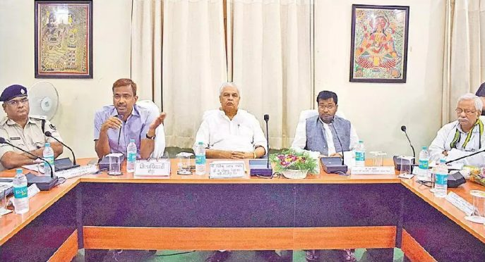 Energy Minister Bijendra Prasad Yadav , SC-ST Minister Ramesh Rishideo , Ex-Minister Narendra Narayan Yadav , Dynamic DM Md.Sohail , SP Vikas Kumar and others attending a Meeting on Badh Samiksha at Jhallu Babu Sabhagar Madhepura.