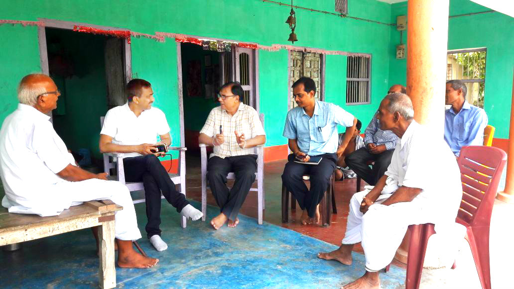 Dynamic DM Md.Sohail (IAS) discussing with Samajsevi Dr.Bhupendra Madhepuri regarding land for Navoday Stadium , Vivah Bhawan , Yoga Bhawan & Cold Storage for farmers in presence of L.R.D.C. Ravi Shankar Sharma and others at Ram Janki Thakurbari Campus Sukhasan , Madhepura.