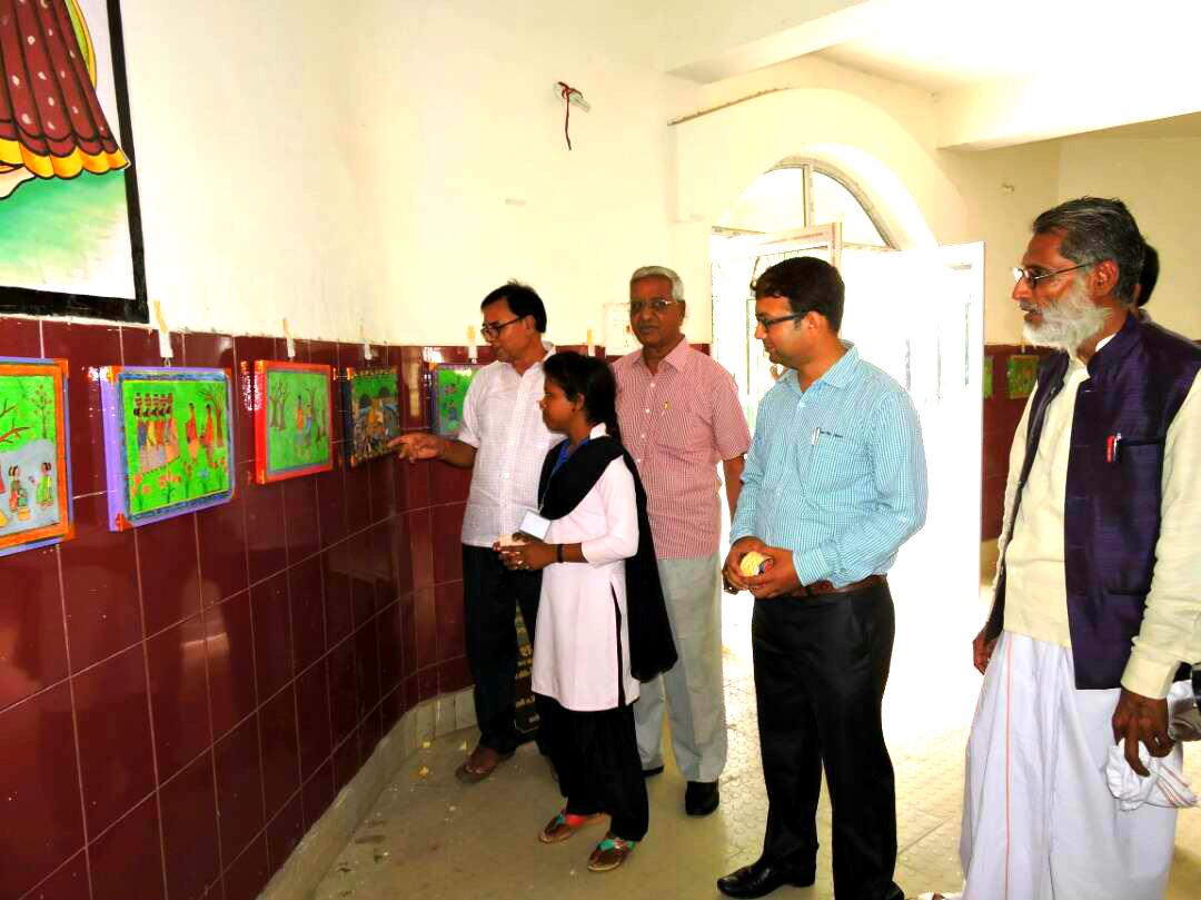 Exhibition of Bhitti Chitrakala at B.N. Mandal Kala Bhawan, Madhepura.