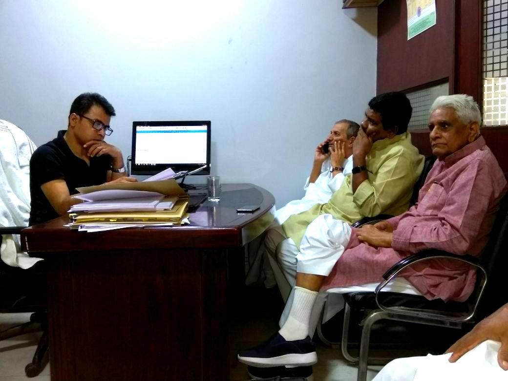 MLC Dr.Sanjeev Kumar Singh , Chairman of Bihar Madhyamik Shikshak Sangh cum Member of Bihar Vidhan Parishad , Shri Kedarnath Pandey & Mahasachiv Shri Shatrughan Prasad Singh with senior advocate Shri Abhay Kumar .