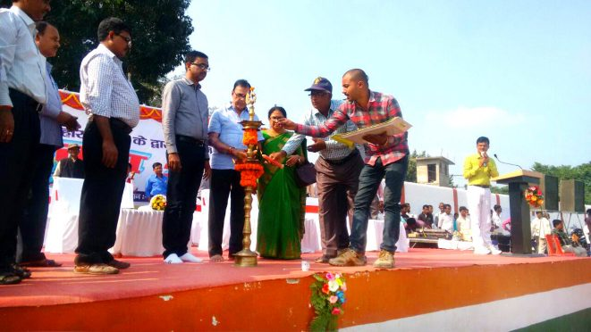 Md.Sohail (IAS) & Educationist Dr.Bhupendra Narayan Yadav Madhepuri along with Dr.Shanti Yadav and other officers inaugurating Yuva Utshav- 2017 at BN Mandal Stadium, Madhepura.