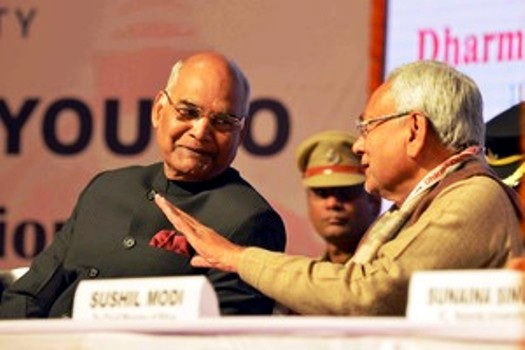 President Ram Nath Kovind in conversation with Bihar Chief Minister Nitish Kumar