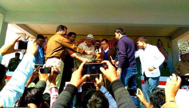 Dynamic DM Md.Sohail, Samajsevi Dr.Bhupendra Narayan Yadav Madhepuri , Singeshwar Mandir Trust Chairman Samir Kumar Jha inaugurating Mahashivratri Mela at Singheshwar Mandir, Madhepura.