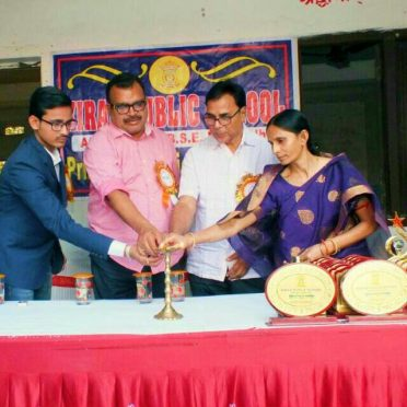Chief Guest Dr.Bhupendra Madhepuri , SDM Sanjay Kumar Nirala , Director Kiran Prakash & MD Aman Prakash inaugurating the Prize Distribution Ceremony at Kiran Public School Madhepura.