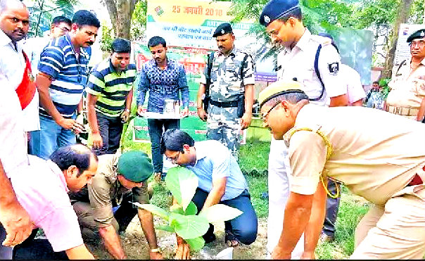 Madhepura DM along with SP and other officers doing plantation at Madhepura Samaharnalaya Campus Madhepura .