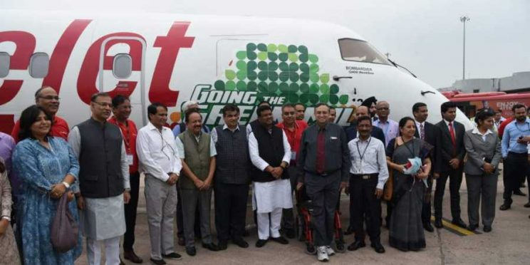 First Bio-Fuel Spice Jet plane being welcomed by cabinet minister Nitin Gadkari and others.
