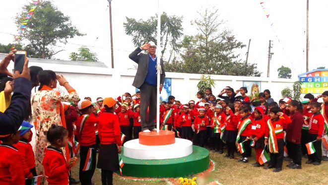 Dr.Bhupendra Narayan Yadav Madhepuri giving salute to tri-colour after flag hoisting at APJ Abdul Kalam Park Madhepura.