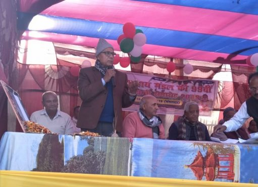 Dr.Bhupendra Narayan Yadav Madhepuri addressing people at Manahra Sukhasan village on the occasion of 99th Birth Anniversary of Shahid Chulhai.