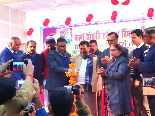 SC-ST Minister Dr.Ramesh Rishidev, Samajsevi Dr.Bhupendra Narayan Yadav Madhepuri , DDC Mukesh Kumar, NDC Rajneesh Kumar, Shivkumar Shaiv and others inaugurating the Yuva Utsav at Bhupendra Smriti Kala Bhawan Madhepura.