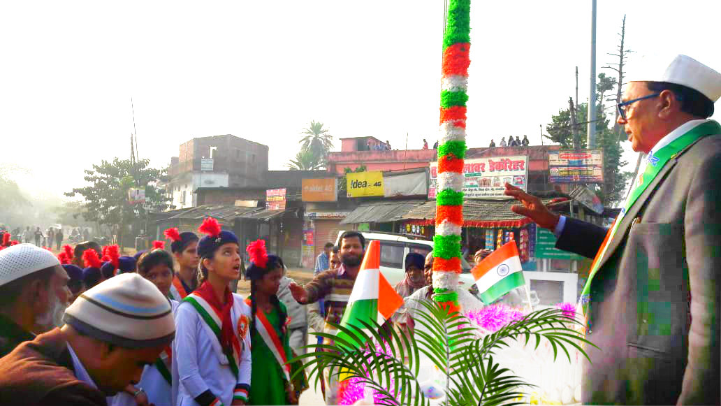 Dr.Madhepuri addressing children after flag hoisting at Bhupendra Chowk , Madhepura.