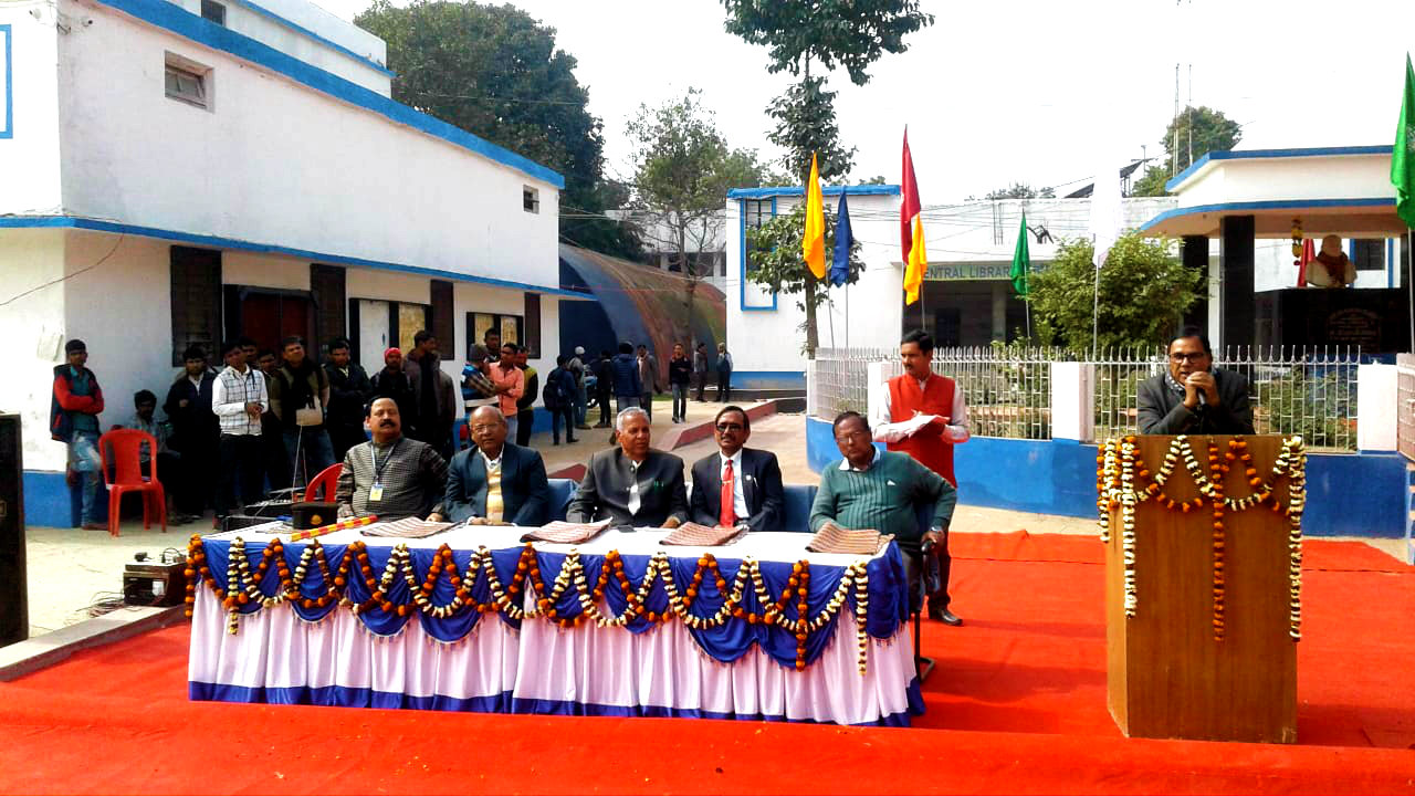 Dr.Bhupendra Madhepuri addressing University officers, teachers and students at BN Mandal South Campus on the occasion of 116th birth anniversary of Great Socialist Leader B.N.Mandal.