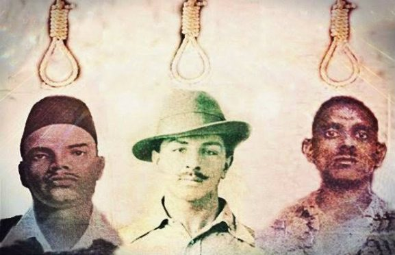 Shahide-E-Azam Sardar Bhagat Singh along with Shukdev & Rajguru before hanging.