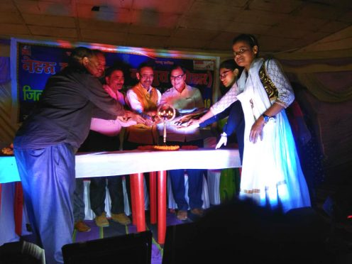 Samajsevi Dr.Bhupendra Madhepuri, Pro-VC Dr.Farookh Ali, Prof.Sanjay Parmar, Prof.Reeta Kumari and others inaugurating Cultural Program organised by Nehru Yuva Kendra at B.P.MANDAL Nagar Bhawan, Shahid Chulhai Marg Madhepura.