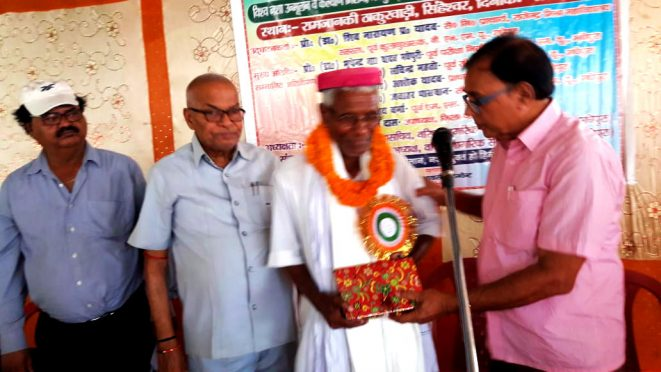 Dr.Madhepuri along with Dr.Shiv Narayan Yadav Wishing Baba Ganga Das on his 70th Birthday Function at Singheshwar.