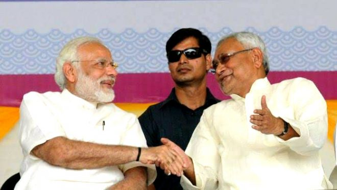 Modi & Nitish kumar celebrating Lok Sabha election victory.