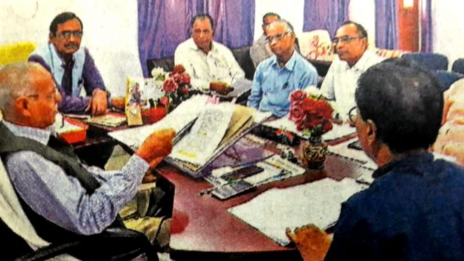 VC Dr.Awadh Kishore Ray, Pro-VC Dr.Farooqui Ali and Department heads meeting at BNMU.
