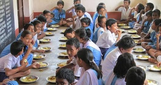 Mid Day Meal from Central Kitchen Scheme at Madhepura.