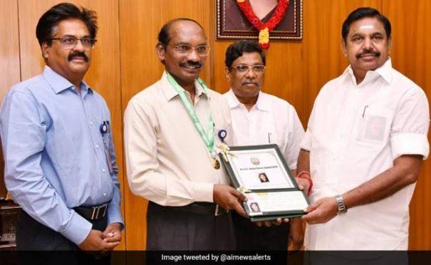 ISRO Chief K.Shivan receiving DR.APJ ABDUL KALAM award 2019.