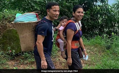 Meghalaya IAS Officer Ram Singh with wife and daughter going to buy Grocery.