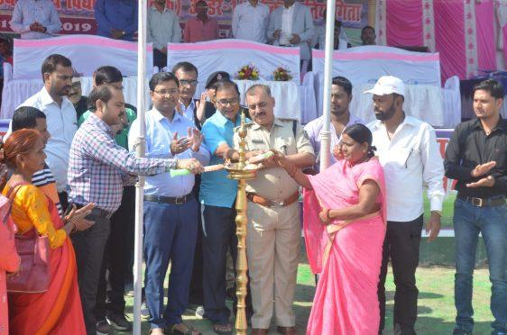 DM Navdeep Shukla, SP Sanjay Kumar, Dr.B.N.Yadav Madhepuri and others inaugurating State Level Cricket Tournament at BN Mandal Stadium Madhepura.