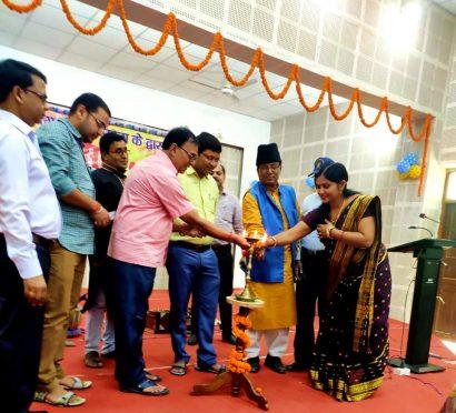 DM Navdeep Shukla Coordinator Dr.Bhupendra Madhepuri and others inaugurating Madhepura Zila Yuva Utsav 2019 at Bhupendra Smriti Kala Bhawan, Madhepura.