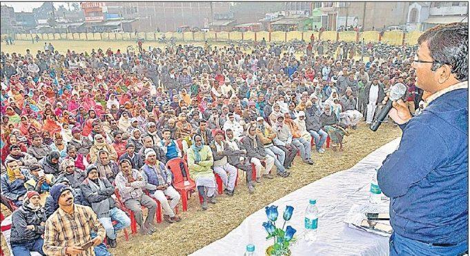 DM Navdeep Shukla addressing people