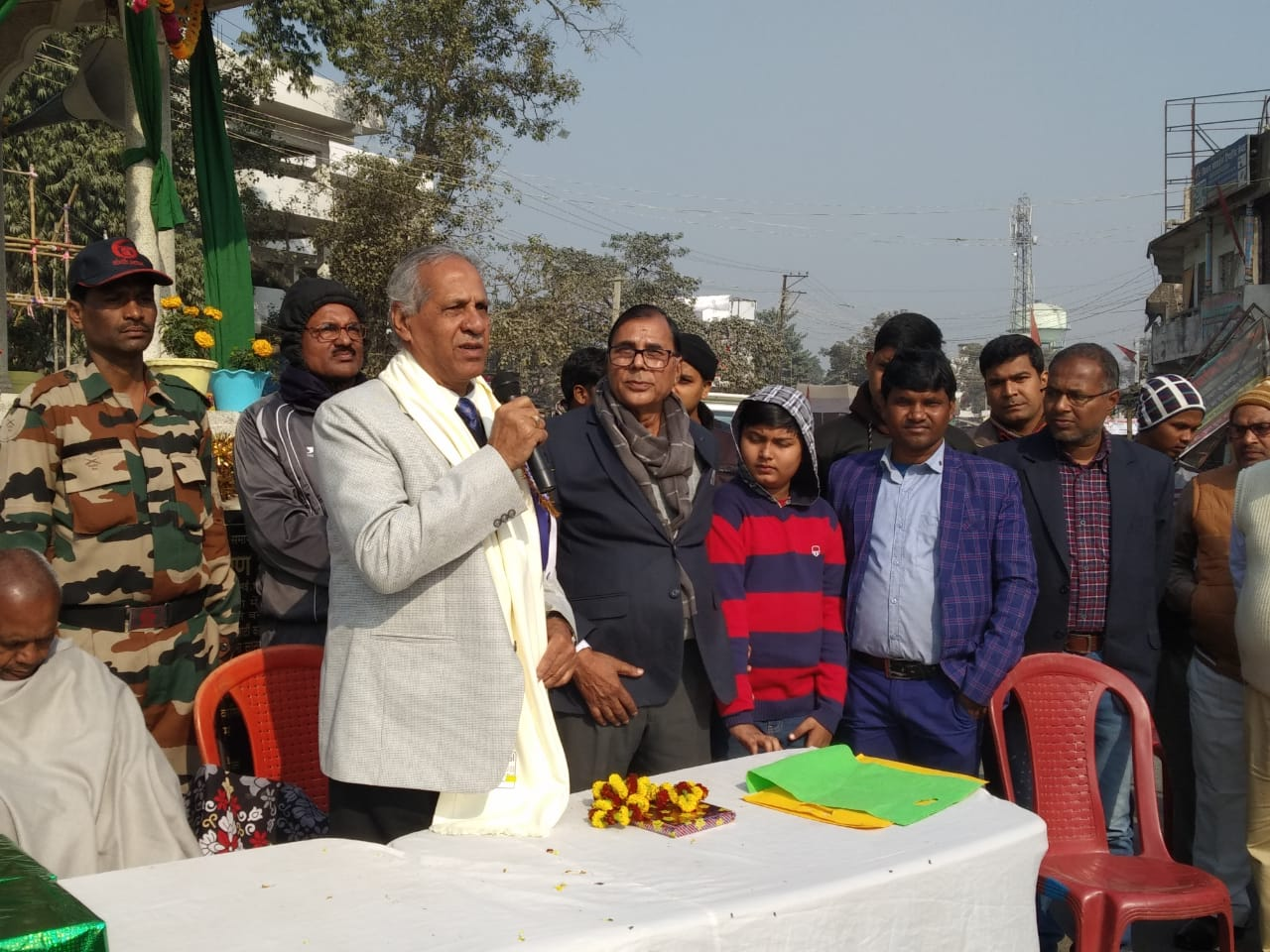 VC Dr.A.K.Ray addressing people on the occasion of Bhupendra Jayanti at Bhupendra Chowk Madhepura.