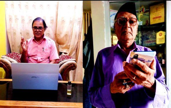 Secretary Dr.Bhupendra Narayan Yadav Madhepuri and President Harishankar Shrivastav Shalabh taking part in online Tulsi Jayanti under the banner of Kaushiki Sahitya Sammelan Madhepura during Corona pandemic.
