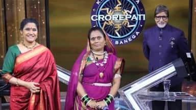 Phool Basan Bai Devi along with Amitabh Bachchan and Renuka Sahne at KBC Set.