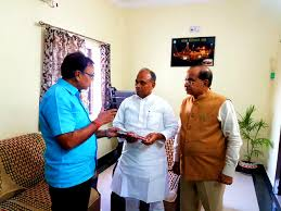 Dr.Bhupendra Madhepuri along with Newly appointed President (JDU) RCP Singh and Lalan Sarraf at Lalan Sarraf's House.