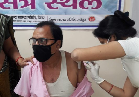 Dr.Bhupendra Narayan Yadav Madhepuri is being vaccinated against Corona Virus at Karpuri Thakur Medical College Madhepura.