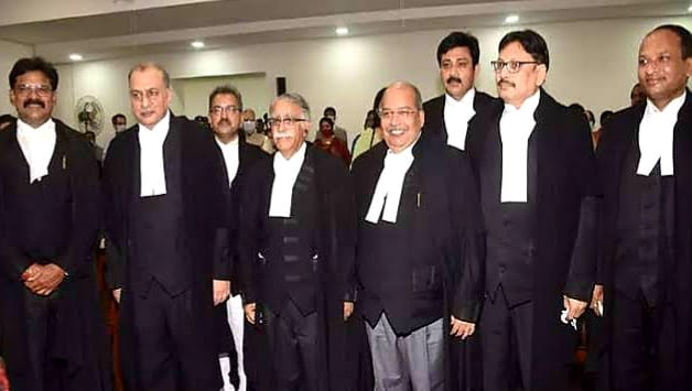 Newly appointed judges of Patna Hogh Court with Chief Justice Sanjay Kerol.