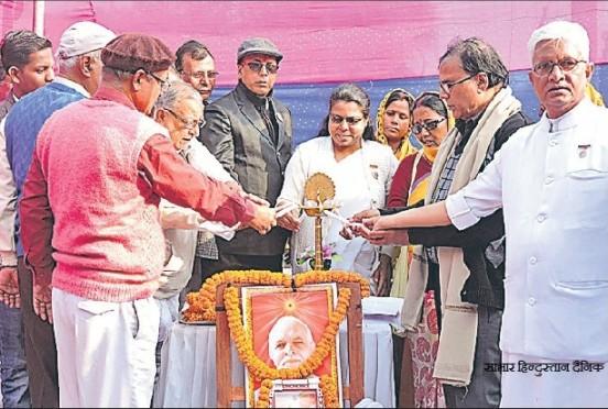 Dr. Madhepuri, Sadhvi Ranju Didi and others inaugurating function of 47th Punya Tithi of Brahamma Baba at Madhepura