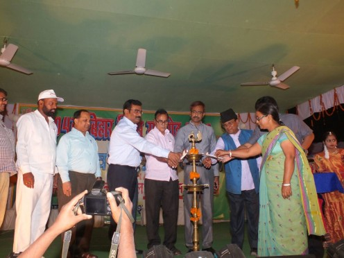 Educationist Dr.Bhupendra Narayan Yadav Madhepuri, DM Md.Sohail, SP Vikas Kumar inaugurating Bihar Diwas- 2016 at B.N.Mandal Stadium Madhepura .
