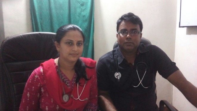Dr.Rashmi Bharti and Dr.Barun Kumar from Vrindavan Nursing Home Mahepura
