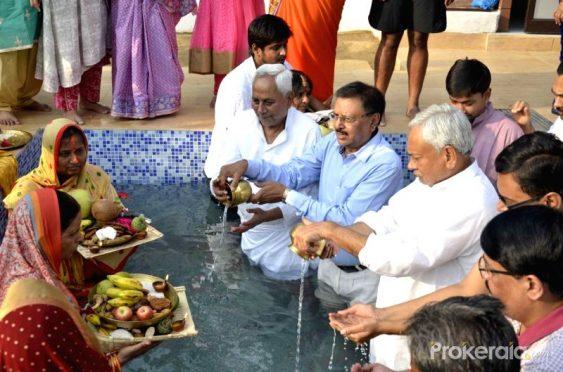 Bihar CM Nitish Kumar celebrating Chhath Puja with his family at Patna Bihar.