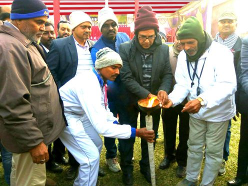Samajsevi Dr.Bhupendra Madhepuri along with Kishor Kumar, Khel Guru Sant Kumar and others inaugurating Sports Event Organised by Private Schools and Children Welfare Association by lighting up Mashal at Kirti Krida Playground Madhepura.
