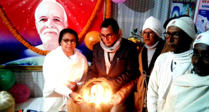 Educationist Dr.Bhupendra Madhepuri inaugurating a function along with Brahma Kumari Ranju Didi at Pragya Pita Brahma Kumari Ishwariya Vishwavidyalay Madhepura Centre on 1st January 2018.